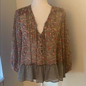 Patterson J Kincaid Flowy Floral Peplum blouse!